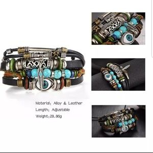 BOHO Tibet Feather Multilayer Leather Bracelet